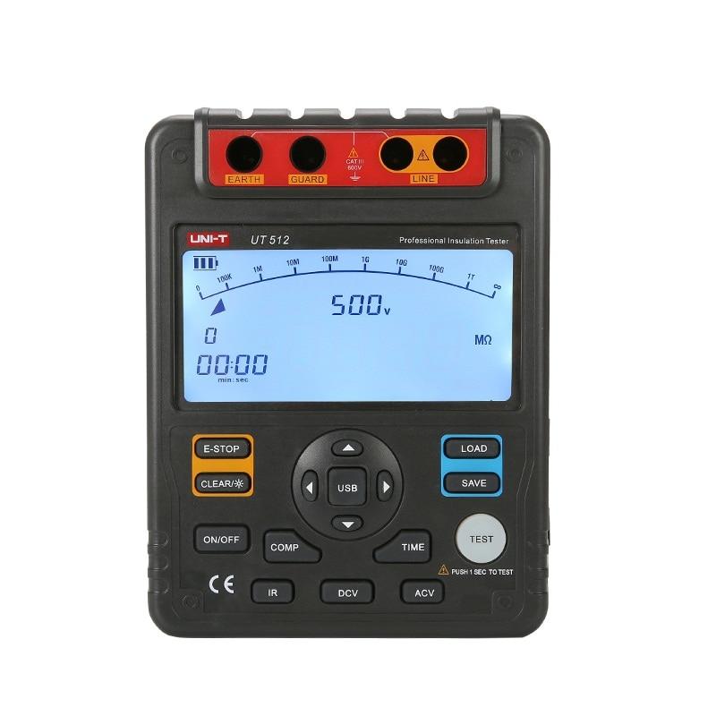 UNI-T UT512 2500V 100Gohm Aislamiento digital probadores de resistencia metros voltímetro rango automático con interfaz USB metros Megohmmeter