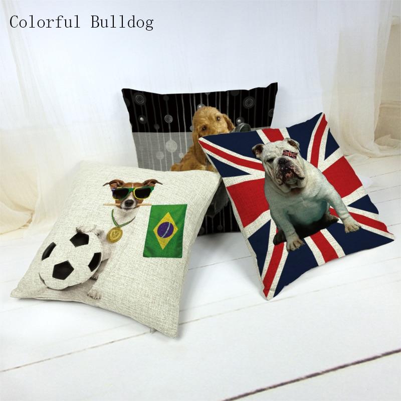 Чехол на подушку для собак, 45*45 см, милый золотистый ретривер с принтом в виде Bulldog Beagle, для офисного автомобиля, домашнего декора, квадратный,...