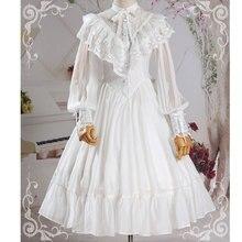 ¡Novedad! vestido de chifón negro/blanco de manga larga Lolita con volante de Encaje Vintage gótico para mujer, vestidos de péndulo grande Retro para mujer