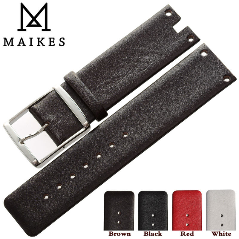 MAIKES New Arrival Genuine Leather Watch Band Strap Black White Soft Durable watchbands Case For CK Calvin Klein K94231