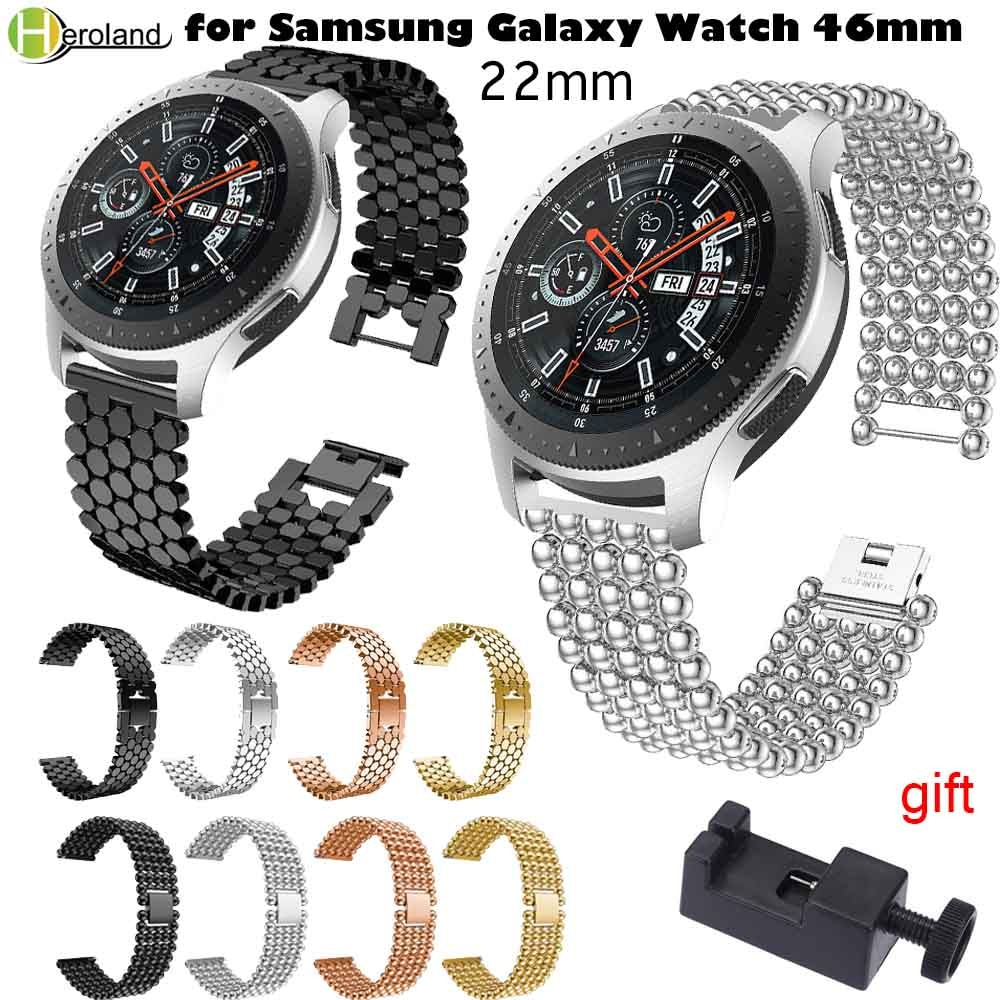22mm Stainless Steel Watch band for Samsung Gear S3 Classic Frontier Galaxy Watch 46mm Bracelet Link Strap + Quick Release Pins 22mm stainless steel strap for samsung galaxy 46 gear s3 classic frontier watch band wrist 20mm bracelet silver quick release