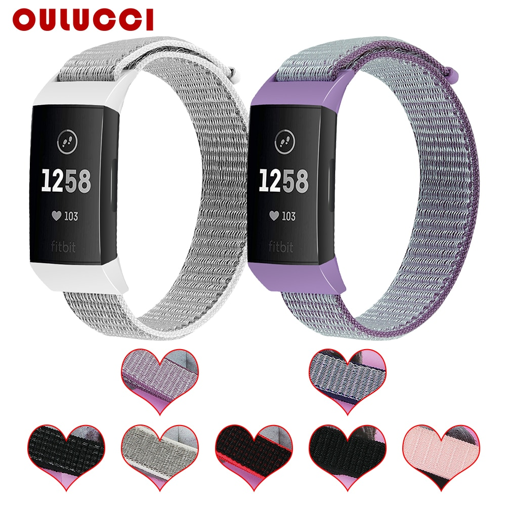 Oulucci Acessórios Pulseira Wrist Band cintas para fitbit 3 carga para Fitbit 3 Relógio de tiras de tecido de Nylon cinto Fit Bit carga 3