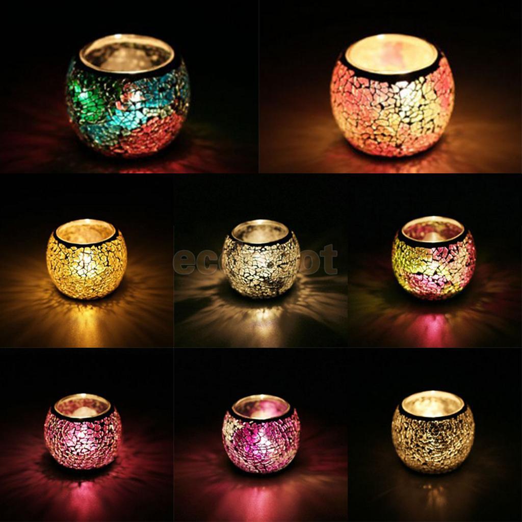 Mosaic Glass Candlestick Tea Light Candle Holder Wedding Party Decor Home Decor