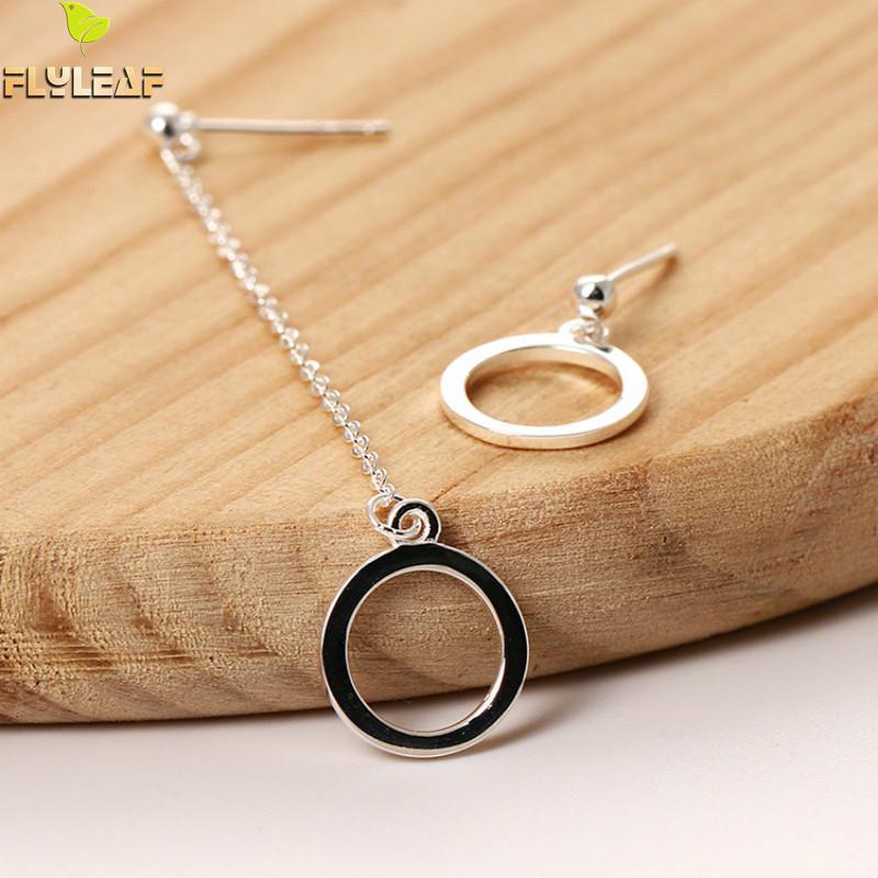 Flyleaf, 100% Стерлинговое Серебро 925 пробы, геометрические круглые длинные серьги с кисточками для женщин, простой стиль, женские модные ювелирные изделия