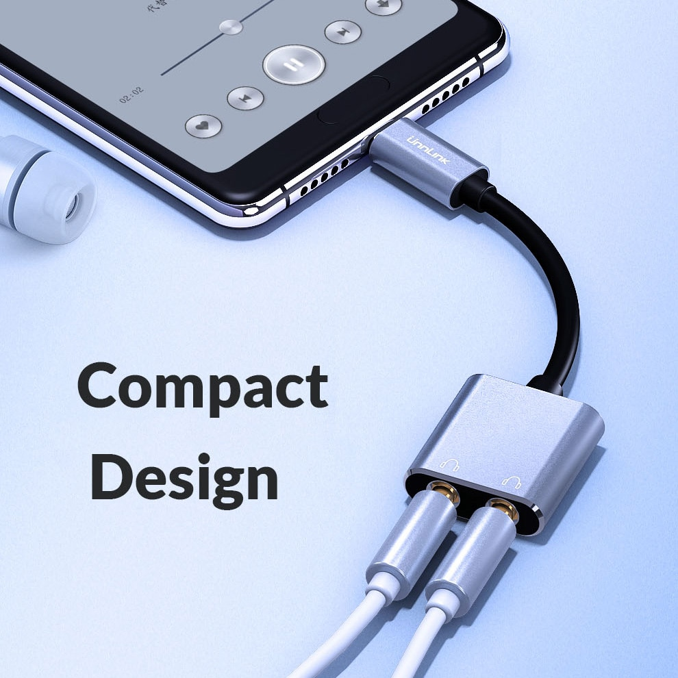 Unnlink USB Type-C Audio Splitter Adapter Type C to 3.5mm Jack*2 Headphone Earphone Earbud Converter For mate20 p20 mi9 p30