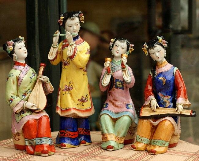 4 stücke/einheit Chinese Hand Maded Keramik Antiken Bunte Porzellan Abbildung Statuen Schönheit