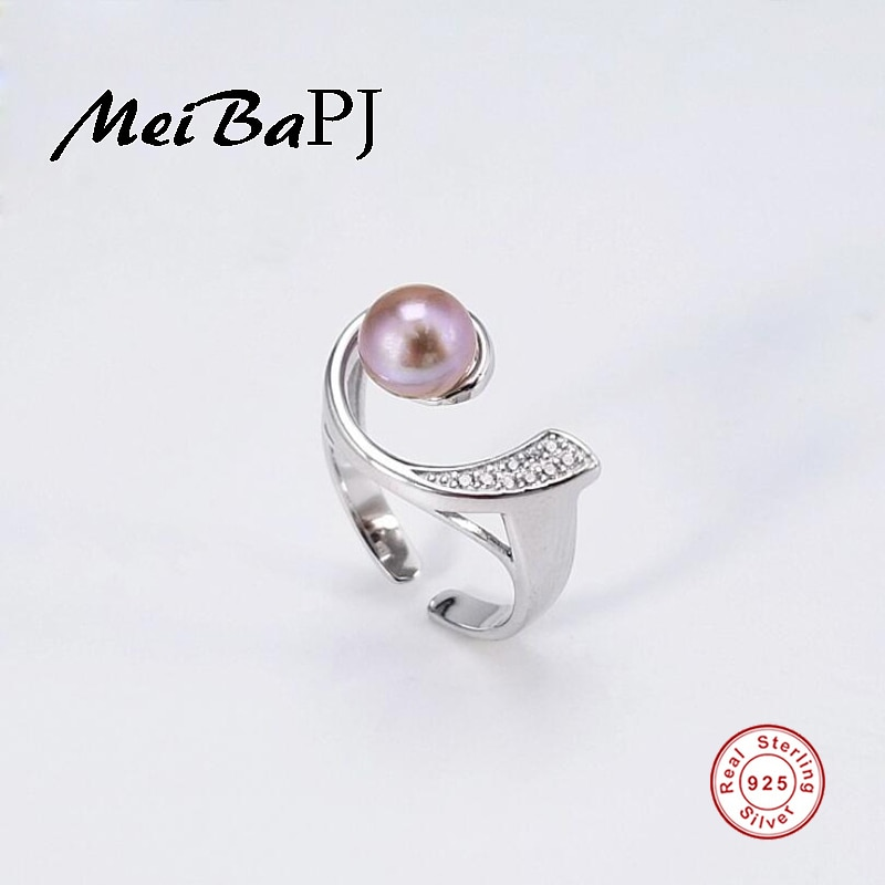 [MeiBaPJ] Simple moda 925 anillo de personalidad de plata de ley anillo de perla de agua dulce Natural para mujer caja de regalo de joyería fina