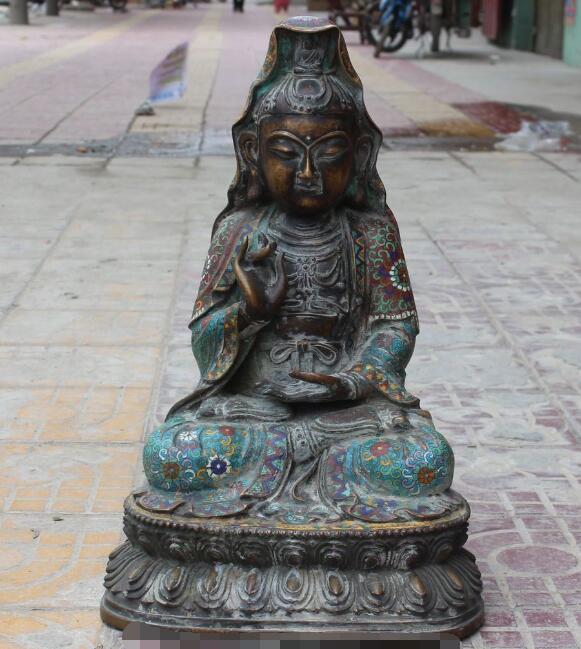 S5077 20 Bronce Antiguo Cloisonne Esmalte Kwan-yin de Guan yin Bodhisattva Estatua de La Diosa de descuento 30% (C0324)