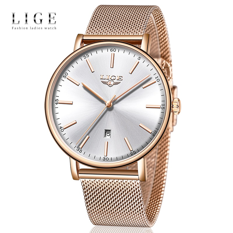 LIGE Womens Watches Top Brand Luxury Waterproof Watch Fashion Ladies Stainless Steel Ultra-Thin Casual  Wristwatch Quartz Clock enlarge