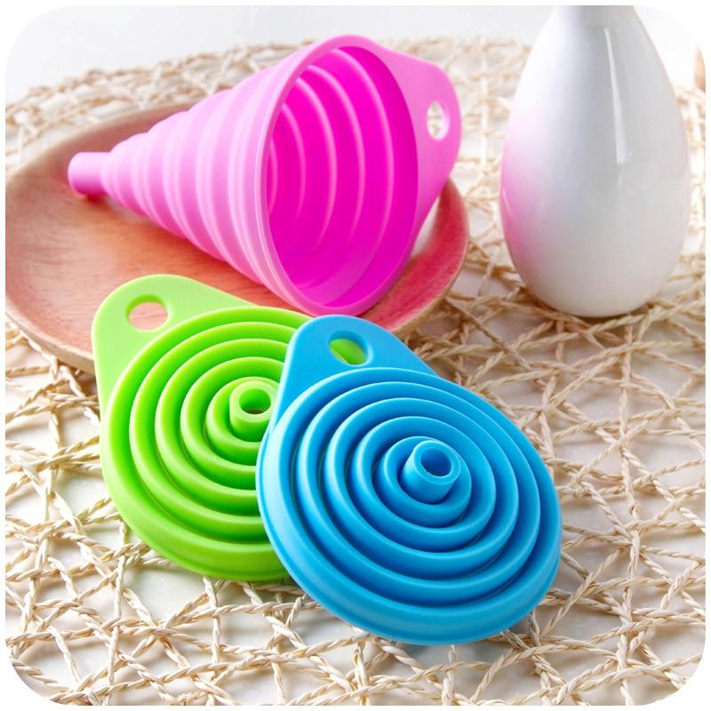 Кухонный инструмент DIY, пищевая Складная силиконовая воронка, бытовая мини-Воронка для дозирования жидкости, произвольный цвет