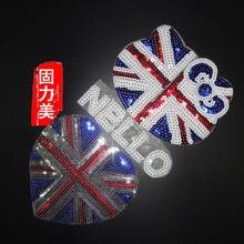 2 stück Schöne England großbritannien hallo kitty liebe herz Flagge Patch Bestickt Land Flagge Patches Für Kleidung Streifen tasche