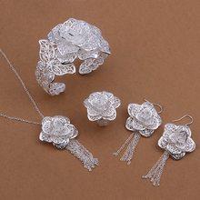 Großhandel 925 Schmuck versilbert Schmuck-Set, Silber überzogene Mode Schmuck, Blume Halskette + Armband + Ohrring + Ring Set SMTS444