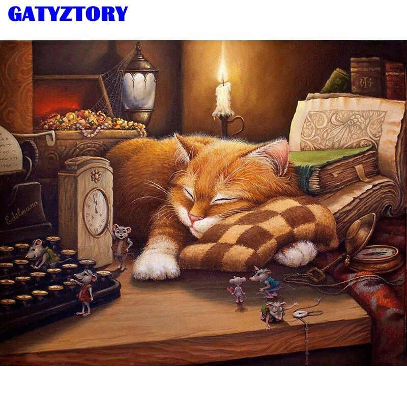 GATYZTORY Rahmen Katze Tiere DIY Malen Nach Zahlen Kit Acryl Malen Nach Zahlen Leinwand Malerei Handgemalte Für Home Decor Wand