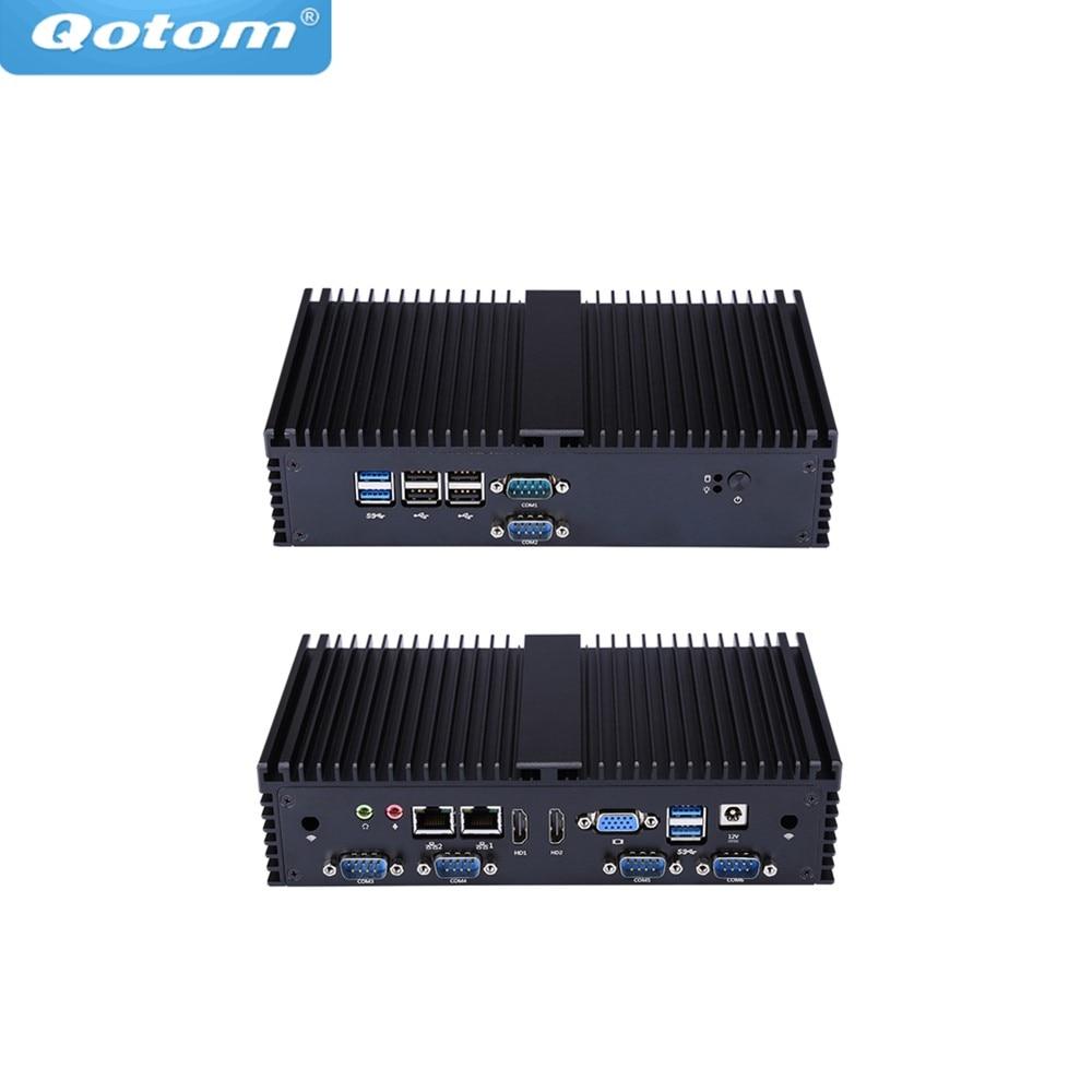 Qotom Mini-pc celeron 8 Qotom-Q190X 7 RS232 dual Lan USB X86 J1900 quad core Fanless POS QUIOSQUE Computador IPC