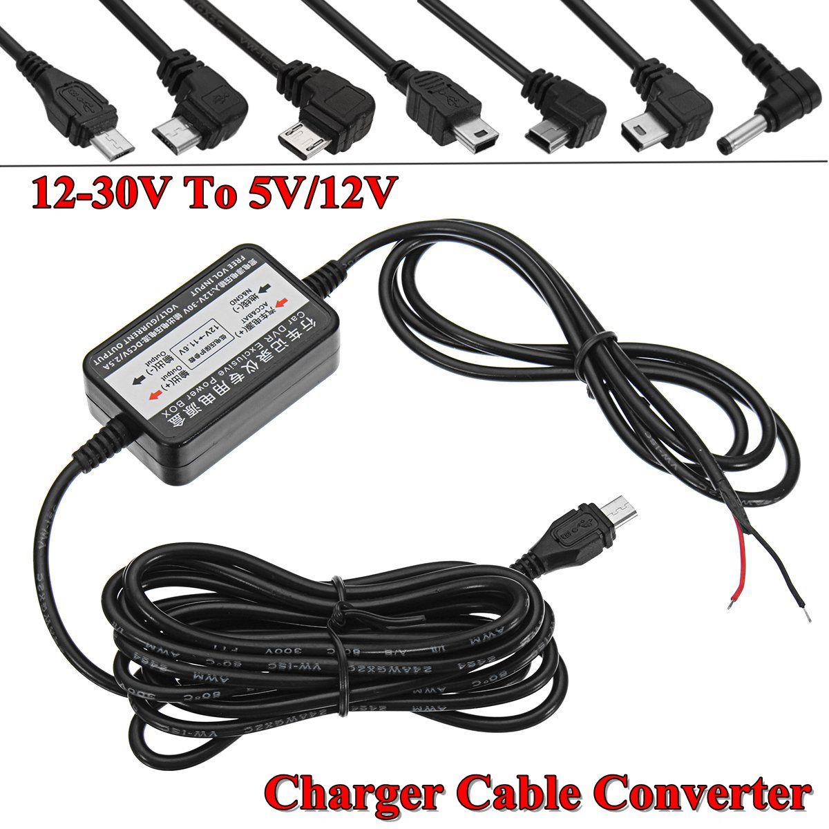 3.5mmm USB inversor de corriente recta izquierda/derecha Micro USB interfaz 12-30V a 5V 12V Cable Convertidor para el coche DVR adaptador de cámara