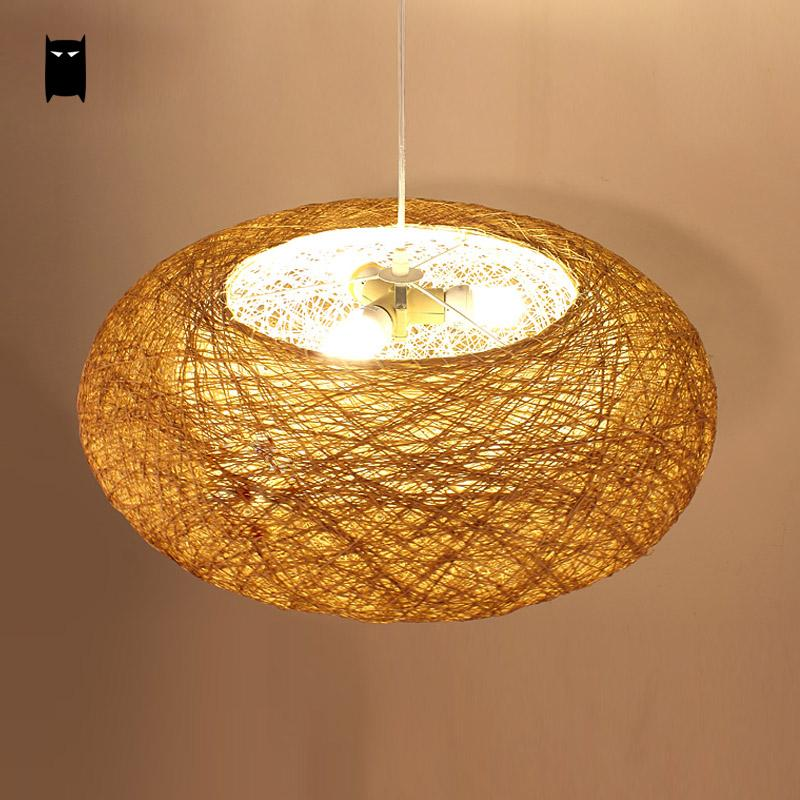 Lámpara colgante redonda de mimbre, nido de mimbre, lámpara rústica de país escandinavo, lámpara de Japón, lámpara colgante para mesa de restaurante