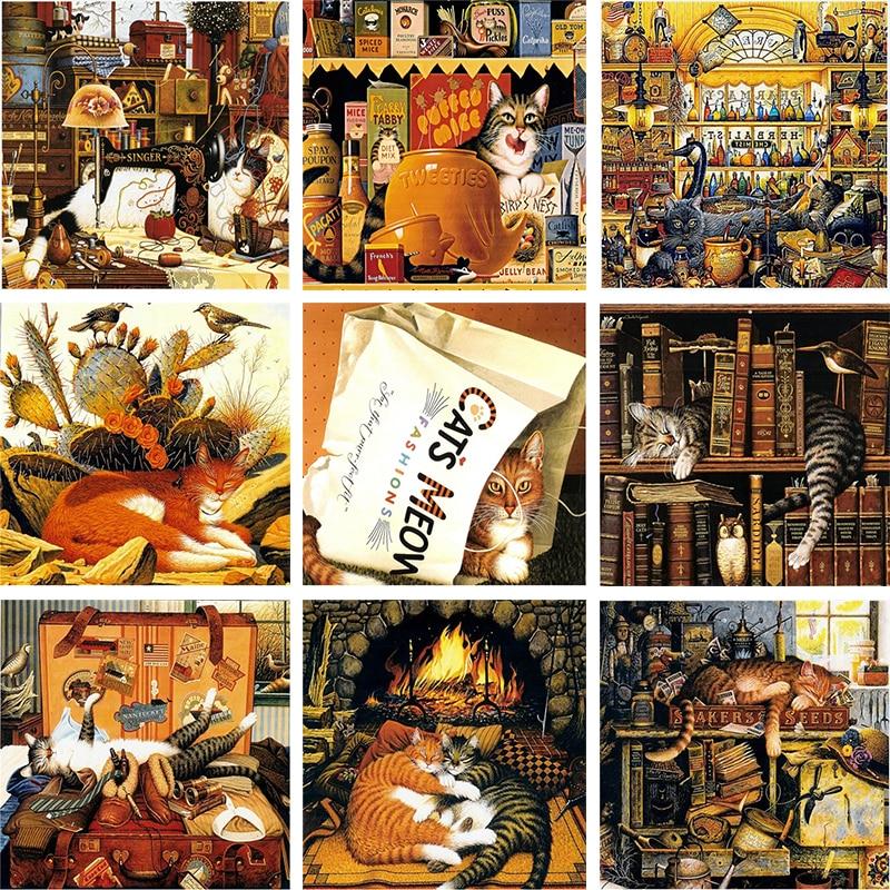 5d diy pintura diamante bordado animais gato ponto cruz livros e gato mosaico strass imagem artesanato casa decoração presentes