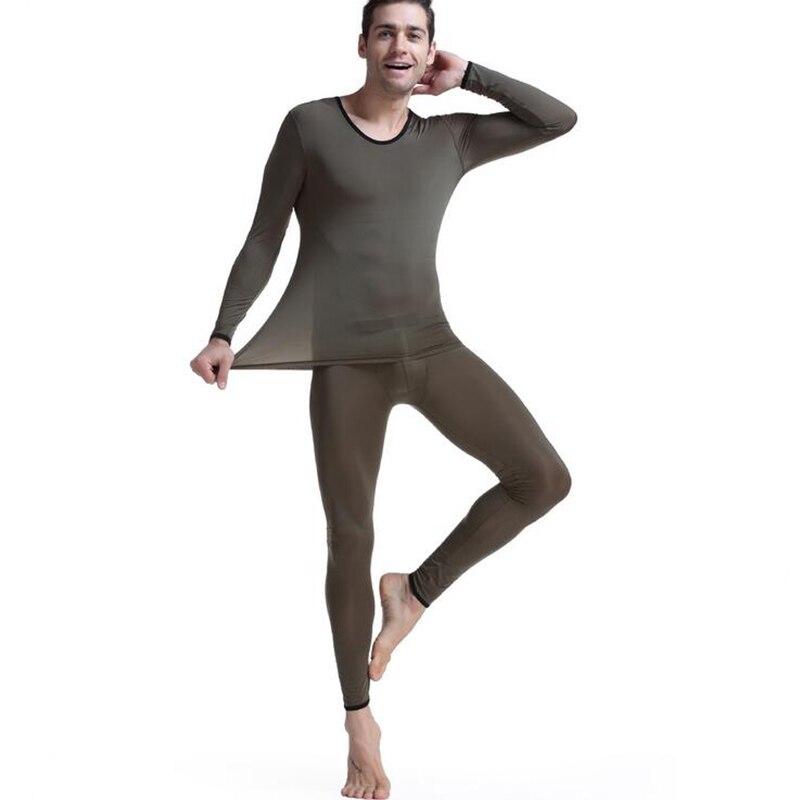 Roupa interior térmica dos homens long johns thermo underpant elástico ultra-fino seda translúcido pijamas roupas para homens leggings