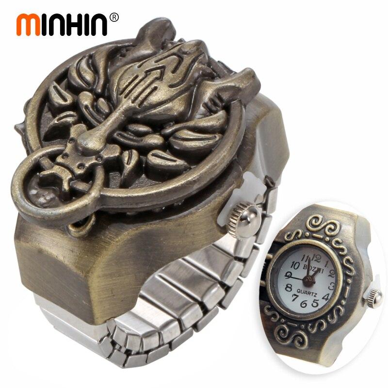 MINHIN Moda Anel de Dedo Relógios Para Homens Relógio Cor Bronze Anéis Elásticos Dragão Garra Relógios Relógios de Quartzo