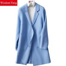 Sagesse Yang hiver manteau noir rouge à manches longues revirement femmes mouton laine manteaux bureau élégant coupe-vent laine pardessus Trench
