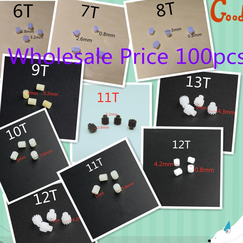 Wholesale 100pcs 6T 7T 8T 9T 10T 11T 12T 13T 0.8mm 1.0mm 1.2mm Hole For R/C Helicopter Quadcopter Dr