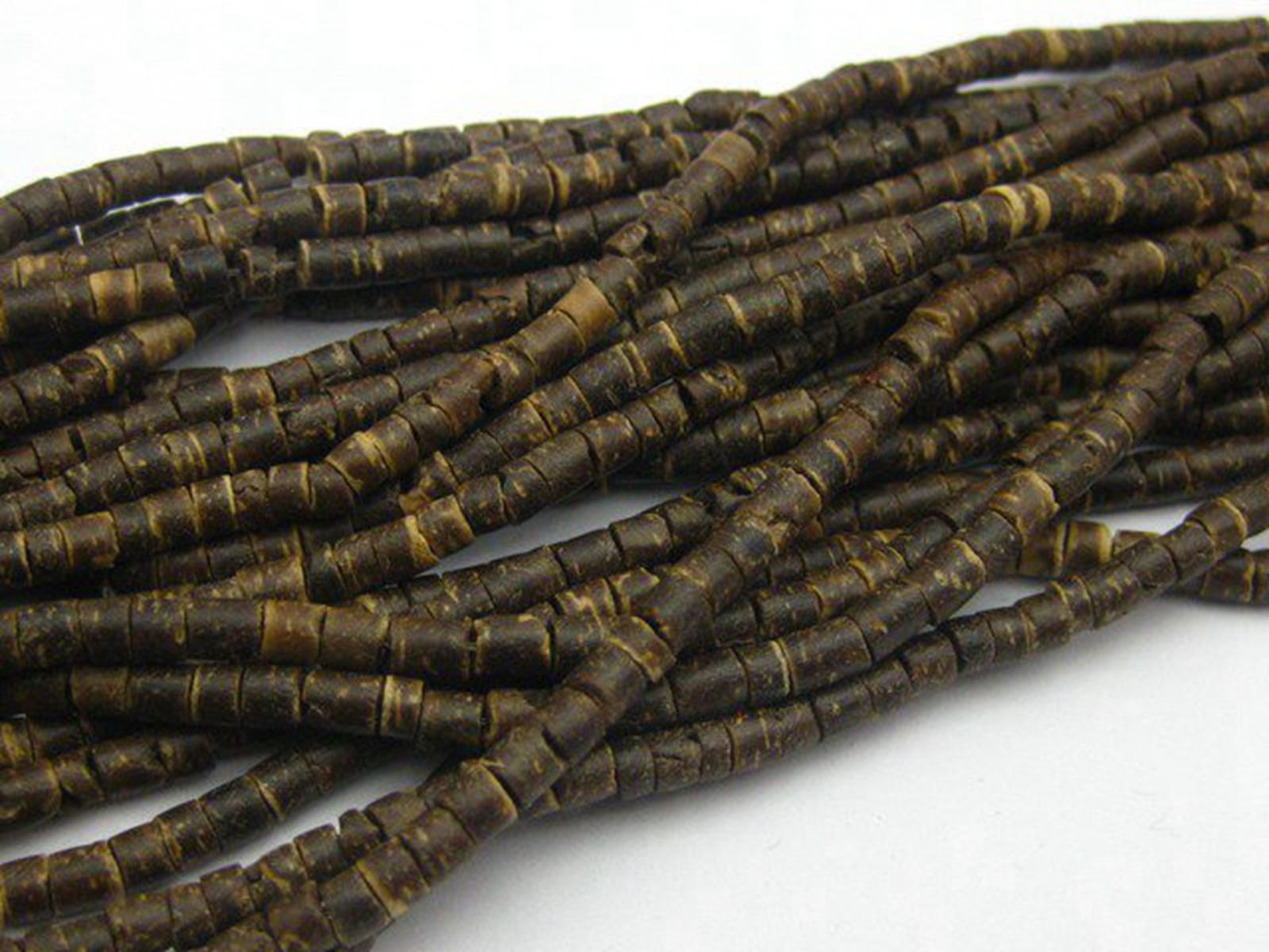 5 hebras de 22 pulgadas naturales de coco oscuro Heishi cuentas 3mm