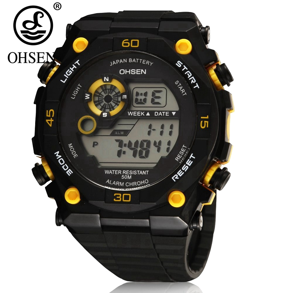 Reloj para Hombre OHSEN, Hombre de 50 m, Reloj de buceo de cuarzo, pulsera deportiva de silicona, Reloj militar Digital amarillo, Reloj Masculino