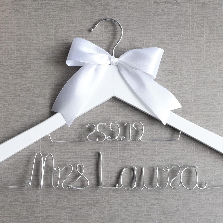 Percha de boda personalizada, regalos de dama de honor, percha de madera para vestido de novia, percha para novia, regalo nupcial personalizado