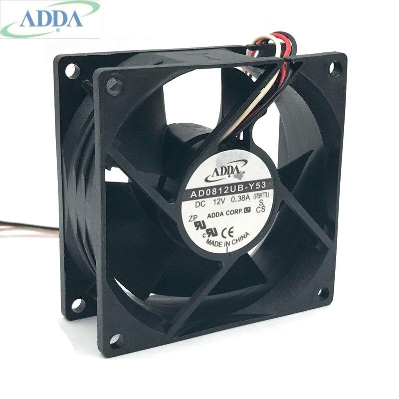 Para ADDA, ventilador de refrigeración 8038 AD0812UB-Y53 80mm 8 cm DC 12 V 0.38A 3-alambre caso ventilador 80 * 80*38mm