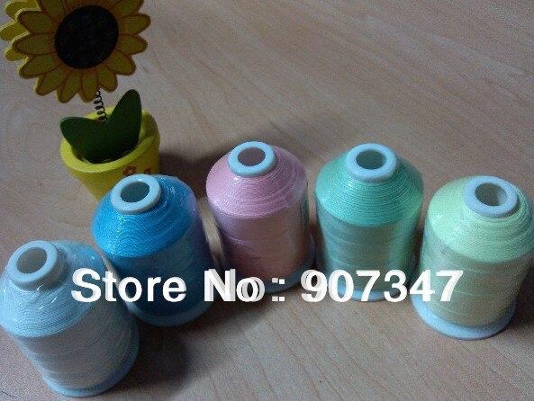 Fil de broderie en polyester 112 populaire   Assortiment de fil machine + 5 couleurs scintillantes dans le fil foncé, bobine de 1000m/mini-king, livraison gratuite