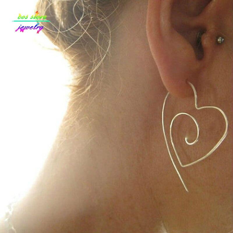 Einzigartige Neue Tribal Große Herz Spirale Hoop Ohrringe Draht Ohrringe Bijoux
