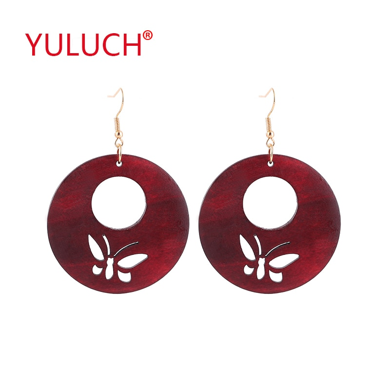 Yuluch vintage natural de madeira 3 cor redonda oco para fora borboleta pingente brincos para moda africana feminino orelha jóias presentes
