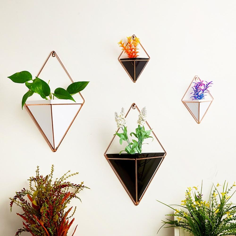 Ootdty geométrica pendurado parede vasos de flores titular jardim plantas suculentas decorações