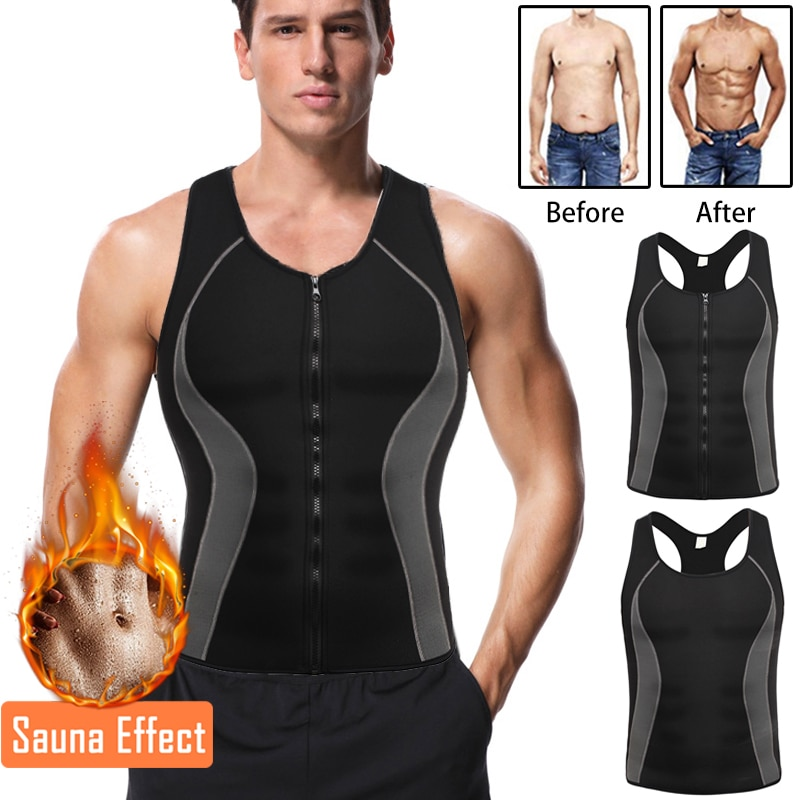 Miss Moly Neoprene Body Shaper Promote Sweat Zipper Vest Waist Trainer Male Slimming Thermo Shapewear Mens Modeling Top