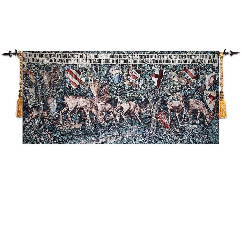 ¡Producto en oferta! Tapiz clásico de Bélgica, diseños medievales, serie del Santo grail, textiles decorativos para colgar en la pared del hogar con ciervos y escudo