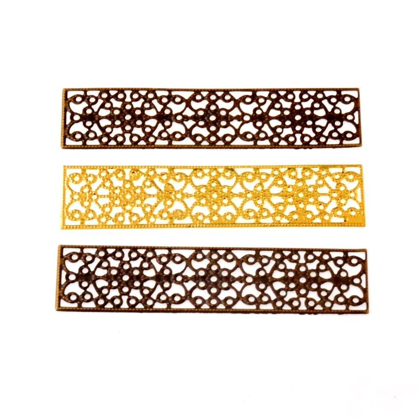 Envío Gratis 20 piezas rectángulo envolturas de flores de filigrana conectores decoración de artesanía de metal DIY hallazgos conectores 8.5x2cm