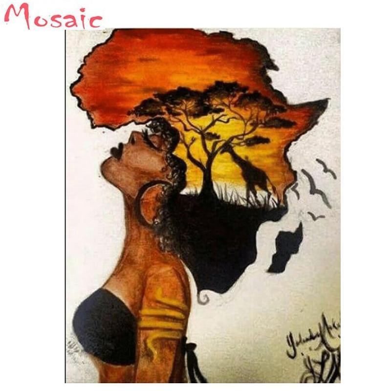 Diament haft afryki, 5d diy ręcznie wykonany obraz diamentowy Village robótki mozaika ściegu niestandardowe zdjęcie wystrój domu