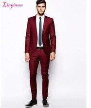 Linyixun Fashion Style Two Button Dark Red Groom Tuxedos Groomsmen Men's Wedding Prom Suits Bridegroom (Jacket+Pants)