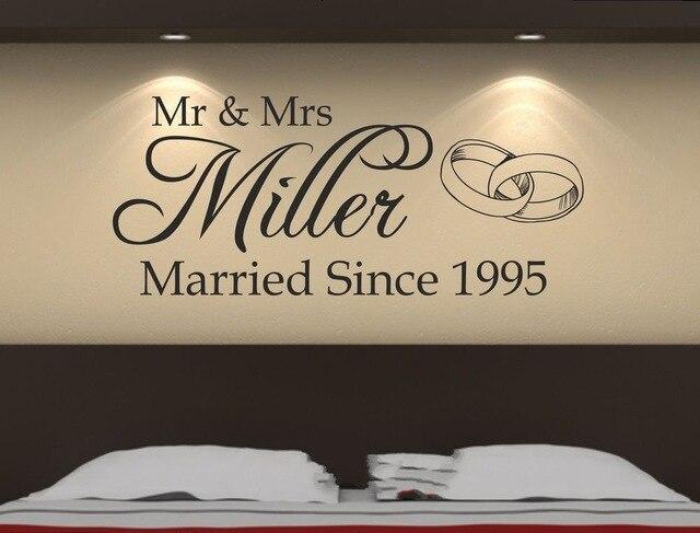 Custom-made Personalized Mr&Mrs Wedding Romantic Wall Sticker Decal Removable Bedroom Art Vinyl Decor Decoration