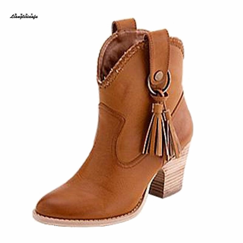 Botas mujer Frauen Mid-Kalb stiefel Plus 34-45 46 damen Mode Fringe Stiefel 6 cm Platz heels Stiefel Runde Kappe Büro Dame Bottines