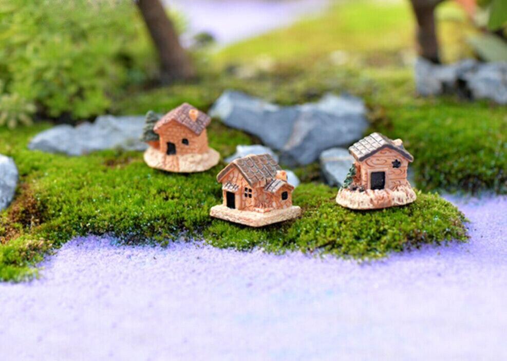 Мини-домик, небольшие домики, игрушки «сделай сам», поделки, фигурка Террариум с мхом, сказочный садовый орнамент, ландшафтный декор, случайный цвет, кукольный домик