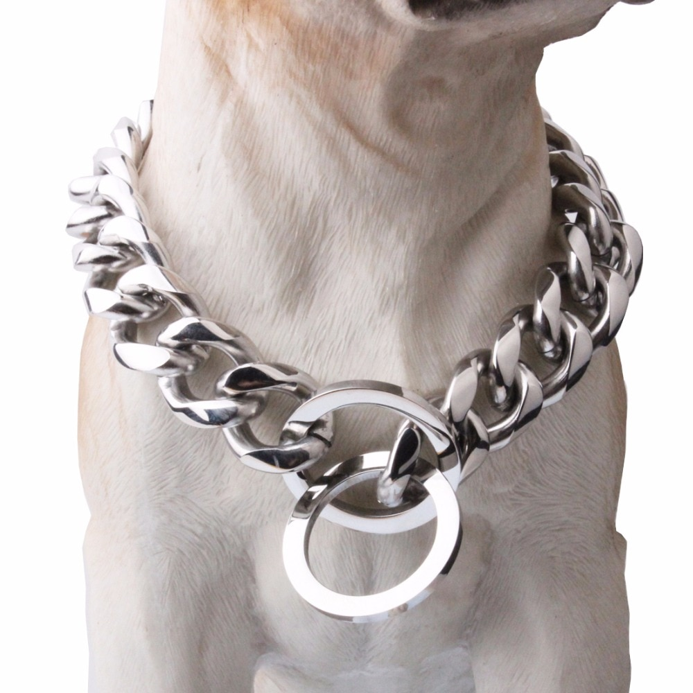 De acero inoxidable Cadena de collar para perro de Pet collares para perrito perro acera cadena de eslabones cubanos 19mm collar amplio Accesorios