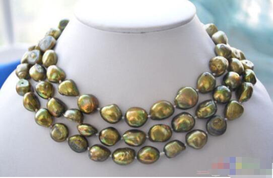 "Gran oferta nuevo estilo> 50 ""8-10mm bronce barroco collar de perlas de agua dulce"
