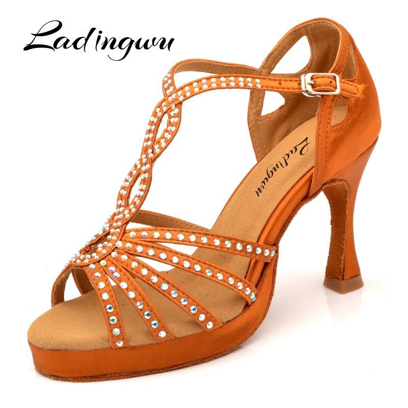 Ladingwu/Лидер продаж; Танцевальная обувь для латинских женщин; бронзовая, черная шелковая атласная танцевальная обувь для сальсы; Обувь для ба...
