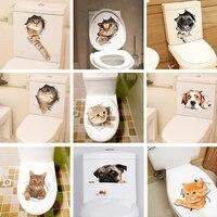 Autocollants de toilettes en Pvc  aspect 3D vif  Stickers muraux  animaux amusants  decoration de maison  bricolage  Art Mural de salle de bains