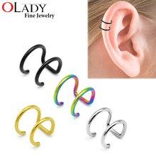 16G 316L acier inoxydable 2 anneaux oreille manchette Clip femmes hommes faux Piercing Dilatations faux oreille piercing corps bijoux