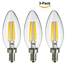 4W C35 Vintage Led Filament,85-265V E14/E12 Edison Bulb,2700k Warm White 400lm,Equal to 40w Incandescent Bulb,3-pack,Free Ship