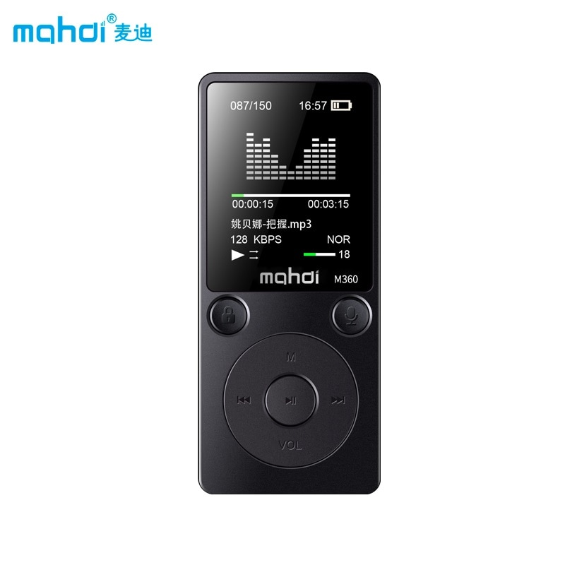 Alarme do Rádio Mp4 com Fone de Ouvido Marca Player Mahdi M360 4g – 8g Relógio fm E-book Gravação tf Orador Novidades Metal Esporte Braçadeira Top Mp4