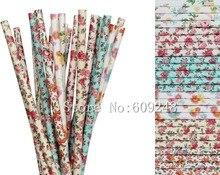 Pailles en papier florales mélangées 150 pièces   Décorations Vintage avec impression de fleurs colorées, pour fête de thé au jardin ou mariage, soirée nuptiale