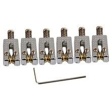 6 selles de Tremolo de pont de rouleau avec la clé pour la guitare électrique de Tele de Strat couleur de Chrome
